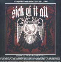 Sick Of It All Death To Tyrants - Promo CD 587092